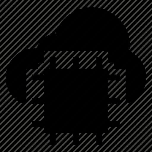 cloud, computer, computing, cpu, microchip, processor, weather icon