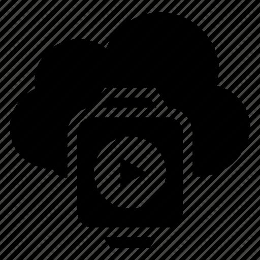 clock, cloud, computing, play, storage, video, weather icon