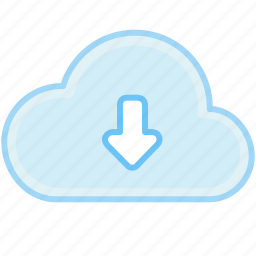 arrow, cloud, down, download, internet, save, web icon