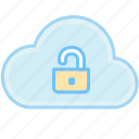 cloud, key, lock, open, open lock, unlock icon