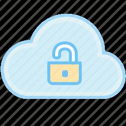 cloud, key, lock, open, open lock, unlock icon