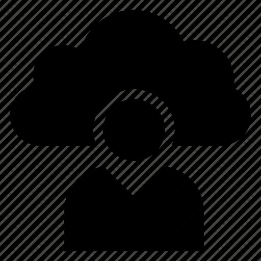 avatar, cloud, computing, person, profile, user, weather icon