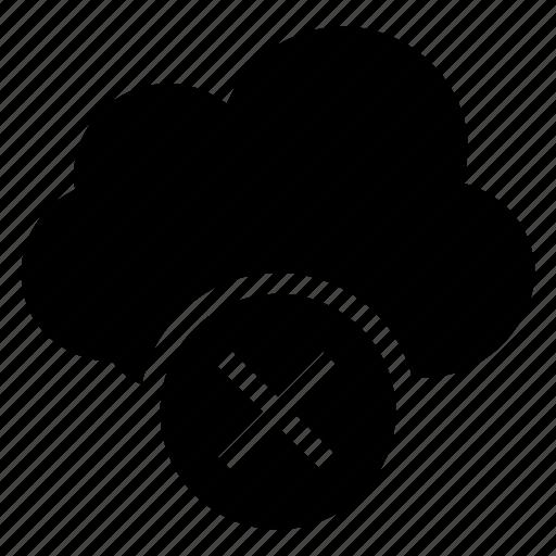 cancel, close, cloud, computing, delete, remove, weather icon