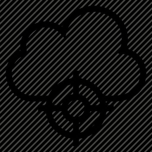 aim, bullseye, cloud, computing, goal, target, weather icon
