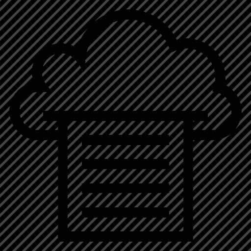 cloud, computing, paper, print, printer, printing, weather icon