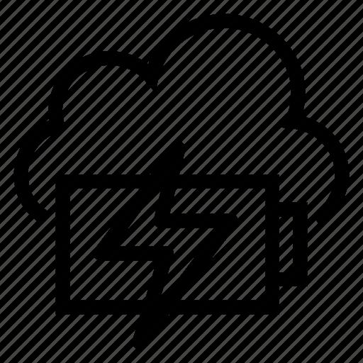 batterycharge, charging, cloud, computing, energy, power, weather icon