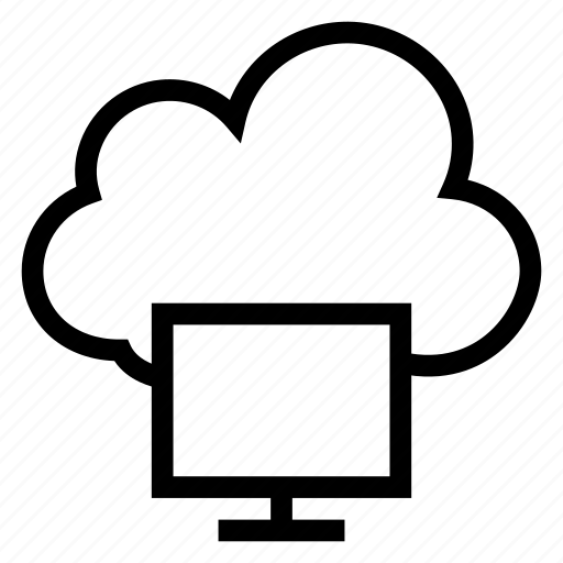 cloud, computer, desktop, display, monitor, screen, weather icon