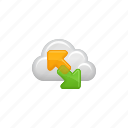 arrows, cloud, cloud computing, computing, data, download, upload icon