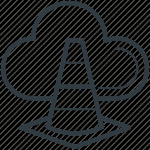 cloud cone, cloud traffic, data highway, internet traffic, traffic cone icon