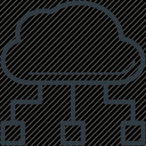 cloud computing, cloud network, cyberspace, social media icon