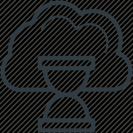 cloud hourglass, cloud loading, cloud refresh, hourglass, updating cloud icon