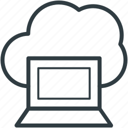 cloud connectivity, cloud network, internet coverage, laptop, network fidelity icon