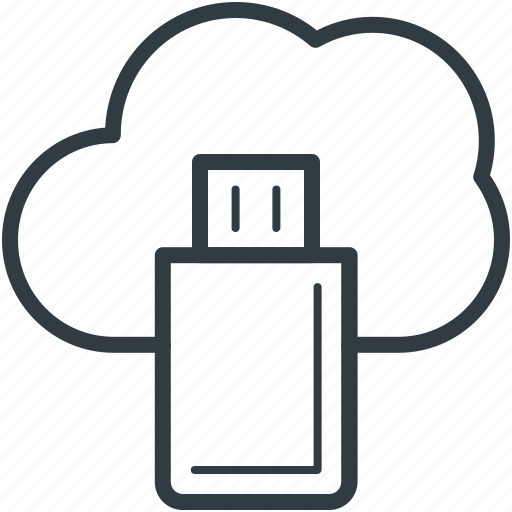 cloud computing, cloud storage, data storage, file storage, usb icon