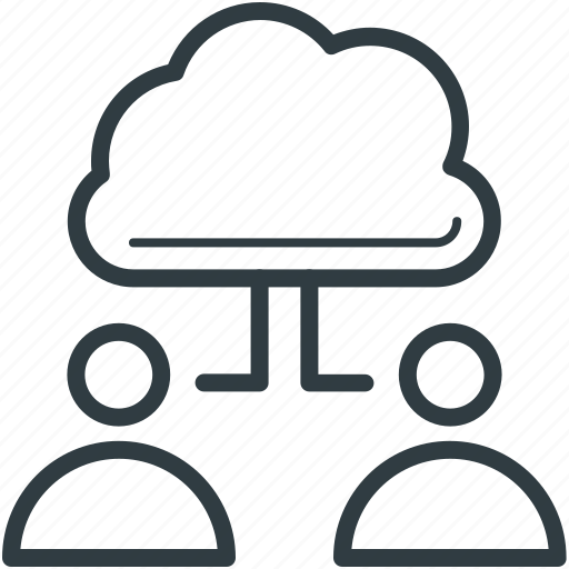 cloud computing, cloud connection, cloud network, connecting people, users connected icon