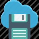 cloud computing, cloud floppy, data storage, file storage icon