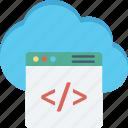 cloud coding, cloud computing, cloud html, cloud programming icon
