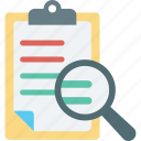 clipboard, magnifying, search article, search file icon