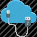 cloud computing, computing, icloud, usb cable icon