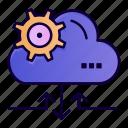 arrow, cloud, gear, setting icon