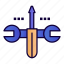 cloud, computing, screwdriver, toolings icon