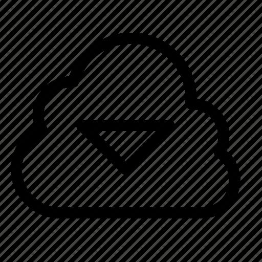 archive, cloud, down, download, dropdown, triangle icon