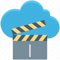 cloud clapper, multimedia cloud, online cinema, online entertainment, online multimedia icon