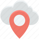 cloud computing, location pin, map pin, online map, online navigation icon