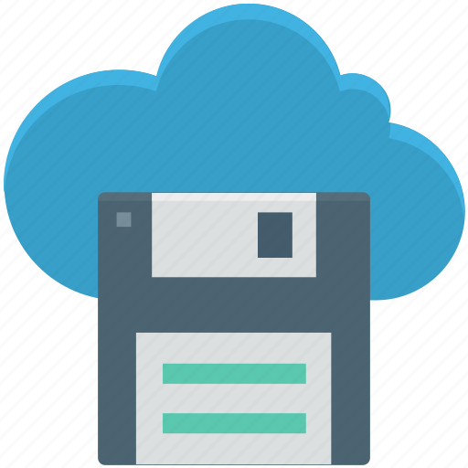cloud computing, cloud floppy, data storage, file storage, online storage icon