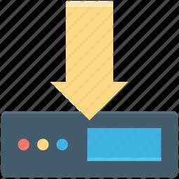 database, downloading arrow, internet server, server download, server rack icon