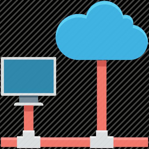cloud computing, cloud hosting, data cloud, database, network server icon