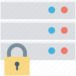 data security, database protection, digital protection, digital security, server lock icon