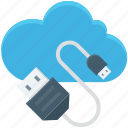 cloud computing, computing, icloud, usb cable, usb cord icon