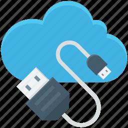 cloud computing, computing, icloud, usb cable, usb cord icon