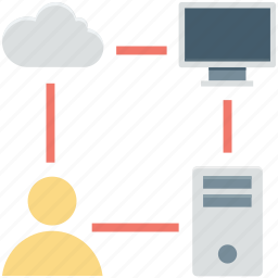 cloud hosting, cloud network, networking, share network, shared hosting icon