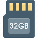 32gb, chip, memory card, micro chip, sd memory icon