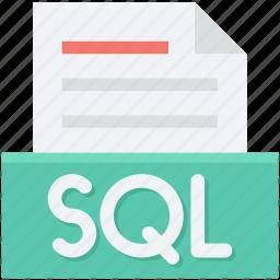 database file, sql, sql coding, sql file, web development icon