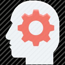 brain cog, brain gear, brainstorm, cogwheel, thinking icon