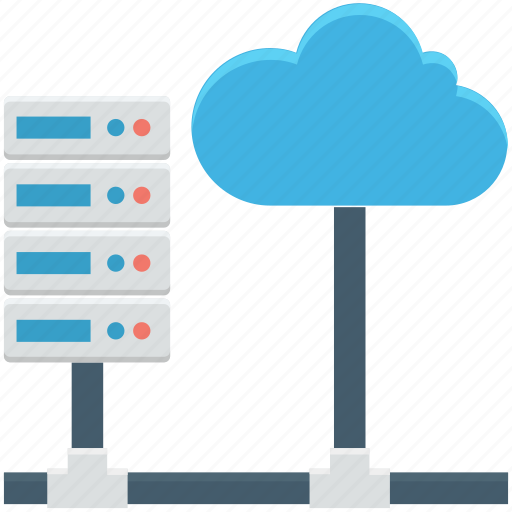 cloud computing, cloud hosting, data cloud, database, network server icon