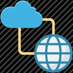 cloud computing, globe, globe grid, internet, internet connection icon