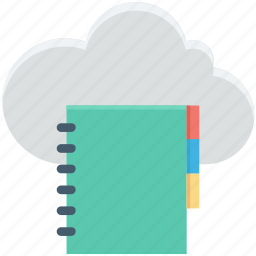 cloud computing, cloud dairy, diary, jotter, jotter papers icon