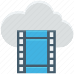 cloud computing, cloud streaming, reel, video, video streaming icon