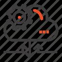 arrow, cloud, gear, setting
