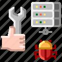 bug, cloud, communication, fixing, internet, network icon
