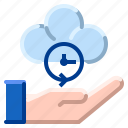 cloud, communication, internet, network, sharing, time icon