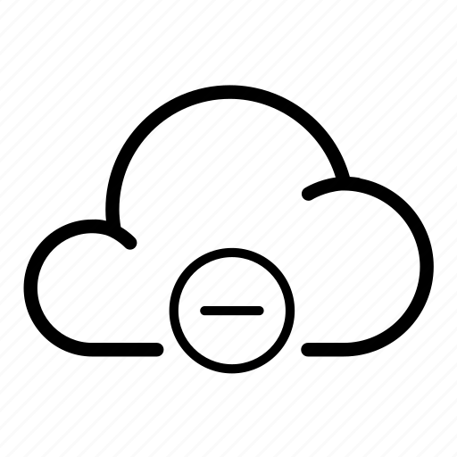 cloud, delete, down, minus, precipitation, remove, storage icon