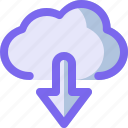arrow, cloud, down, download, network icon