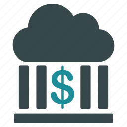 bank, banking, business, cloud, dollar, finance, money icon