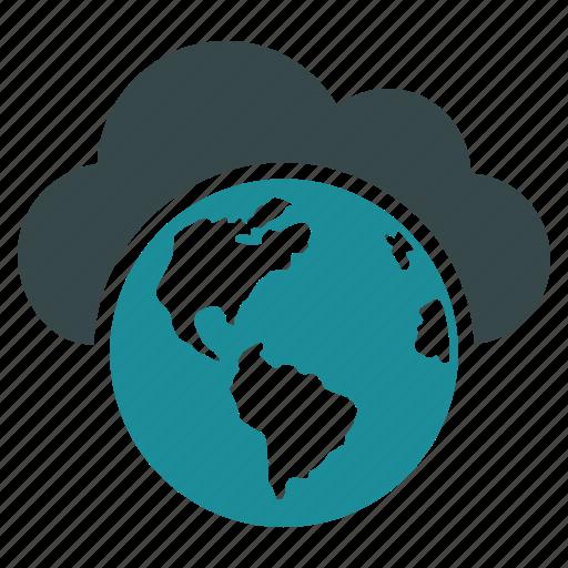 cloud, global, globe, internet, network, online, world icon