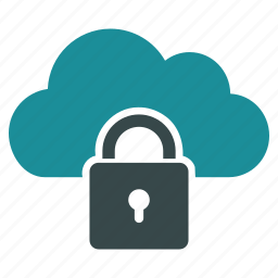 closed, cloud, lock, locked, password, protection, safety icon