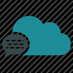 bubble, chat, cloud, communication, connection, message, online icon